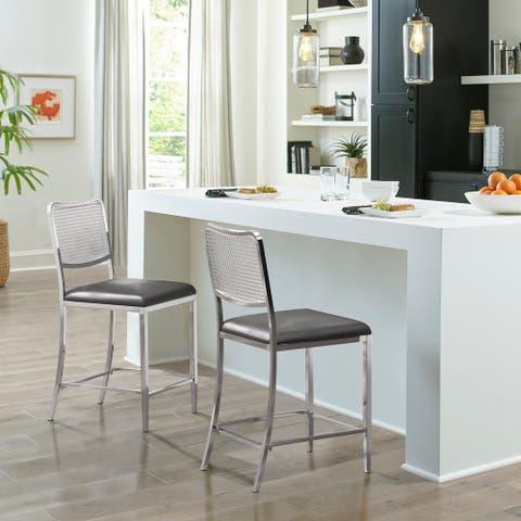 Hillsdale Furniture Deming Metal Cane Back Stool, Shiny Nickel
