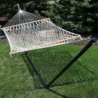 Sunnydaze 2-Person Spreader Bar Rope Hammock and Heavy-Duty Stand - Natural