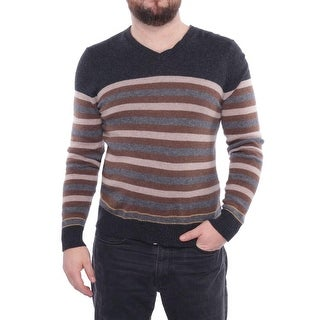 C/89Men V-Neck Long Sleeve Sweater Men Regular Sweater Top