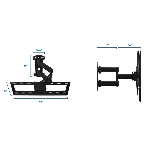 Mount-It! Full Motion TV Wall Mount Corner Bracket with Extending Arm Articulating, Swivel, and Tilt - Black