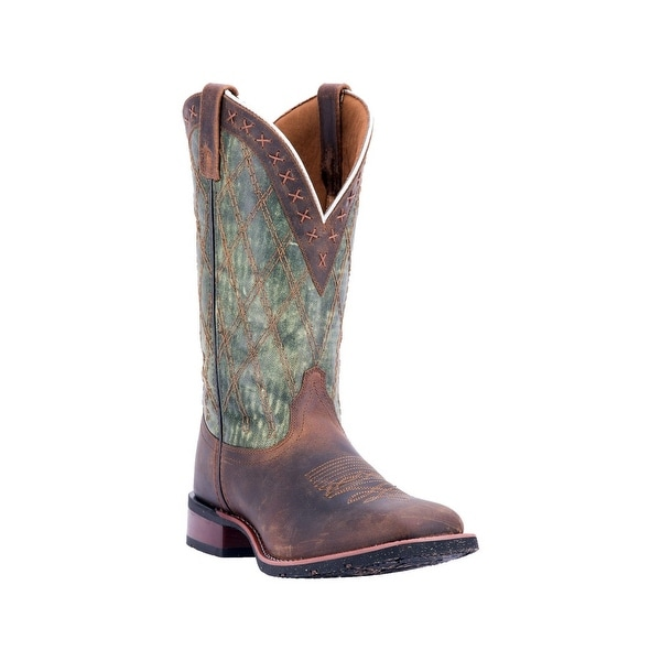 Laredo Western Boots Mens Trent Distressed Square Green Brown