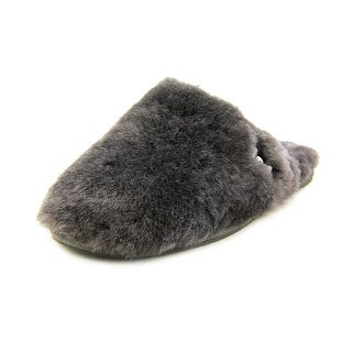 Ugg Australia Fluff Clog Women Round Toe Leather Gray Slipper