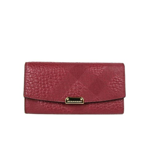 Burberry Women's Dark Plum Leather Grain Check Continental Wallet 3987316 - One Size