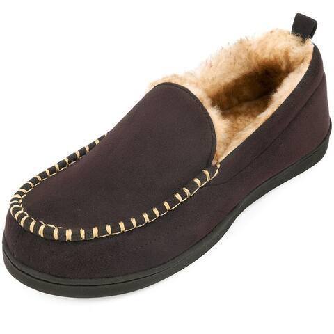 VONMAY Men's Anti-Slip Plush Suede Indoor/Outdoor Moccasin Slippers