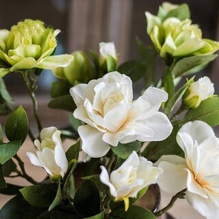 """G Home Collection Rustic Silk Gardenia Stem in Green and White 25"""" Tall (Set of 2)"""