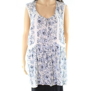 Melrose and Market Blue Womens Size 2X Plus Floral Lace-Trim Blouse