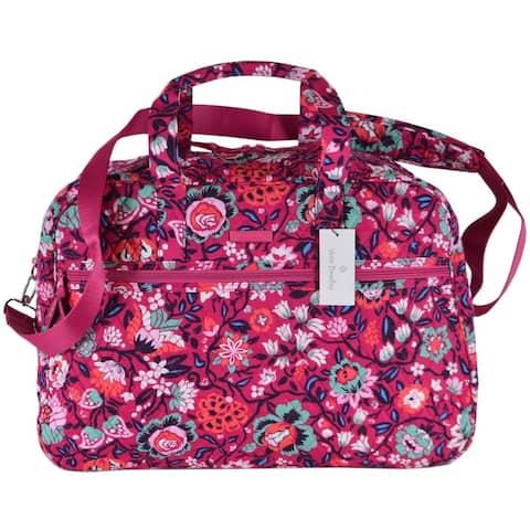 Vera Bradley BLOOM BERRY Grand Traveler Cotton Weekender Duffle Bag Purse