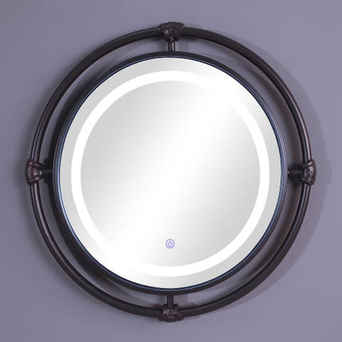 Furniture of America Perismore Industrial Black Round Wall Mirror