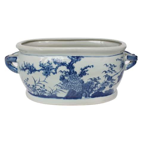 Blue And White Four Season Foot Bath Planter - 18x10x7