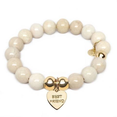 Julieta Jewelry Best Friend Heart Charm Ivory Jade Bracelet