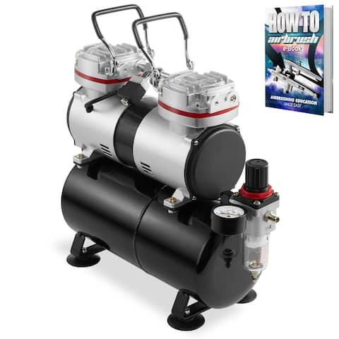 PointZero 1/3 HP Dual Piston Airbrush Compressor w/ Tank, Gauge, Trap
