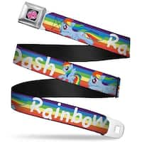 My Little Pony Logo Full Color Black Pink Rainbow Dash Poses W Rainbow Seatbelt Belt