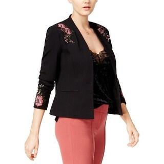 XOXO Womens Juniors One-Button Blazer Floral Work Wear