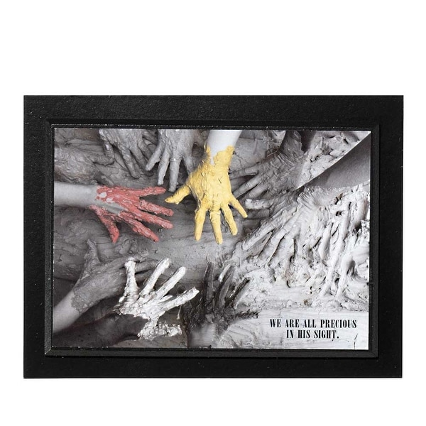 """We Are Precious In His Sight Red Yellow Black and White Painted Hands Wood Wall Plaque 8"""" x 6"""" - other-frame-size"""