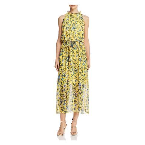 SAM EDELMAN Yellow Sleeveless Below The Knee Dress 4