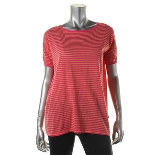 Calvin Klein Womens Striped Short Sleeves Pullover Top