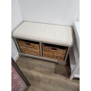 """Old Stone Vintage Grey Wicker Storage Bench - 33.5"""" x 16.1"""" x 19.9"""""""