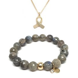 "Julieta Jewelry Set 10mm Grey Labradorite Emma 7"" Stretch Bracelet & 14mm Ribbon Charm 16"" 14k Over .925 SS Necklace"