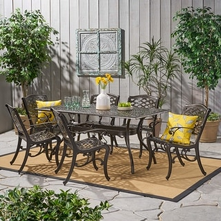 Link to Christopher Knight Home Outdoor Hallandale 7-piece Cast Aluminum Rectangle Bronze Dining Set Similar Items in Outdoor Dining Sets