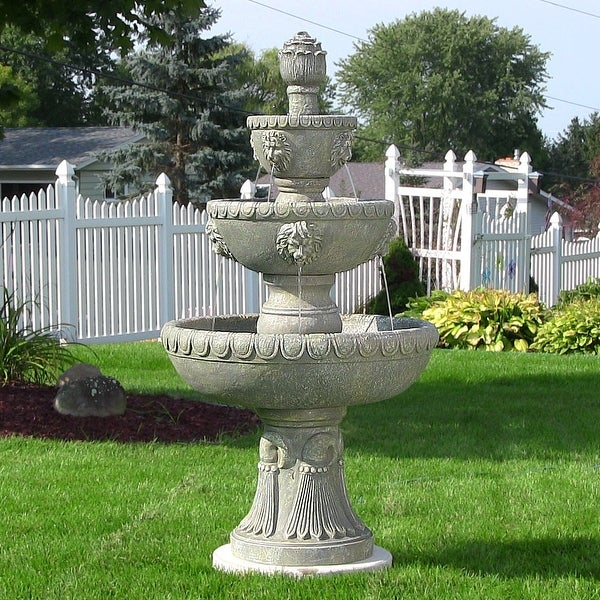 Sunnydaze Four Tier Lion Head Outdoor Water Fountain   53 Inch Tall