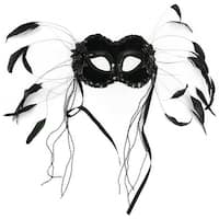 """7"""" Black Half Mask with Beads and Feathers"""