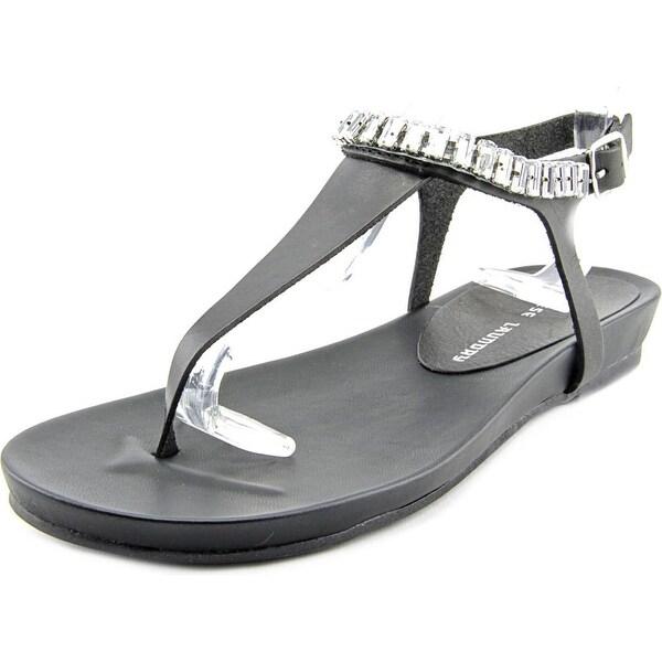 Chinese Laundry Flash Back Women Open Toe Leather Black Thong Sandal