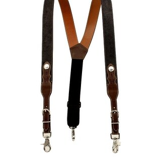 Nocona Mens Galluse Suspenders Round Concho L Black Tan Leather