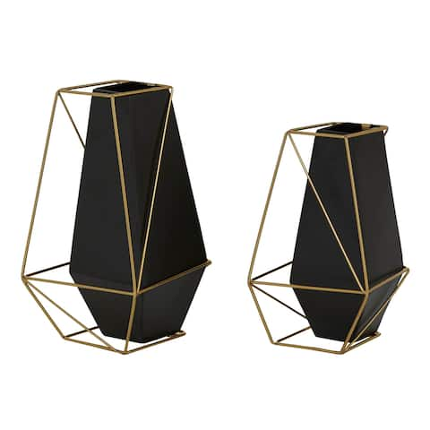 """Black Metal Geometric Vase With Outer Gold Frame Set Of 2 9.5"""" 11"""" - 6 x 6 x 11"""