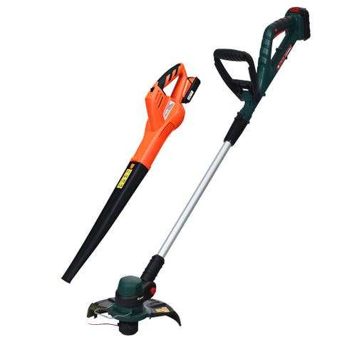 Costway 20V Cordless Leaf Blower Sweeper & Grass Trimmer Battery &