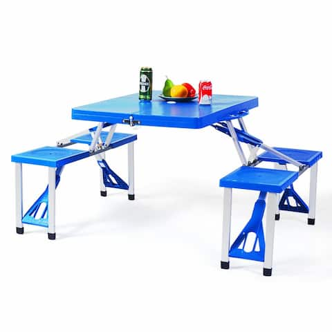 Gymax Outdoor Camping Foldable Picnic Table w/ Bench 4 Seat