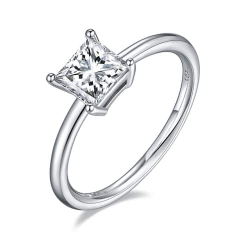 TwoBirch 1 Carat Moissanite Princess Solitaire in Platinum Plated Sterling Silver (GRA CERTIFIED)