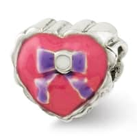 Sterling Silver Reflections Kids Enameled Heart with Bow Bead (4mm Diameter Hole)