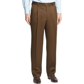 Berle Milan Super 100s Wool Gabardine Pleated Front Dress Pants Brown 31