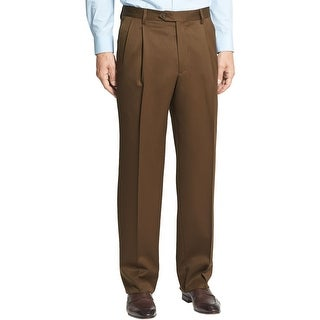 Berle Milan Super 100s Wool Gabardine Pleated Front Dress Pants Brown 31