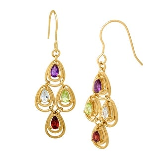 1 3/4 ct Natural Multi-Stone Chandelier Earrings in 18K Gold-Plated Brass - multi-color