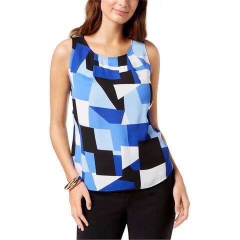 Nine West Womens Geometric Sleeveless Blouse Top