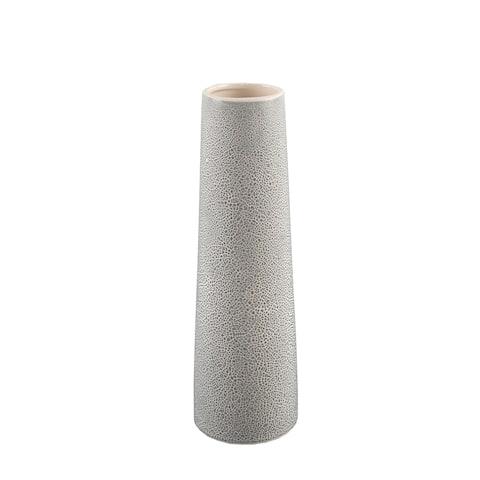 """14"""" H Leather Finish Ceramic Vase Planter,Cream"""