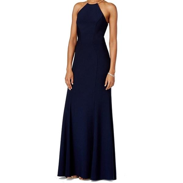Shop Xscape NEW Navy Blue Women\'s Size 4 Necklace Halter Sheath Gown ...