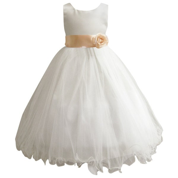Wedding Easter Flower Girl Dress Paperio Ivory Rattail Satin Tulle (Baby - 14) Peach