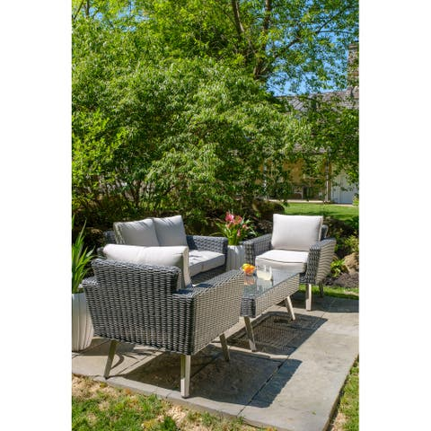 Castlewood All Weather Wicker 4 Piece Seating Group with Cushions