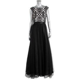 Aidan Mattox Womens Tulle Polka Dot Evening Dress - 8