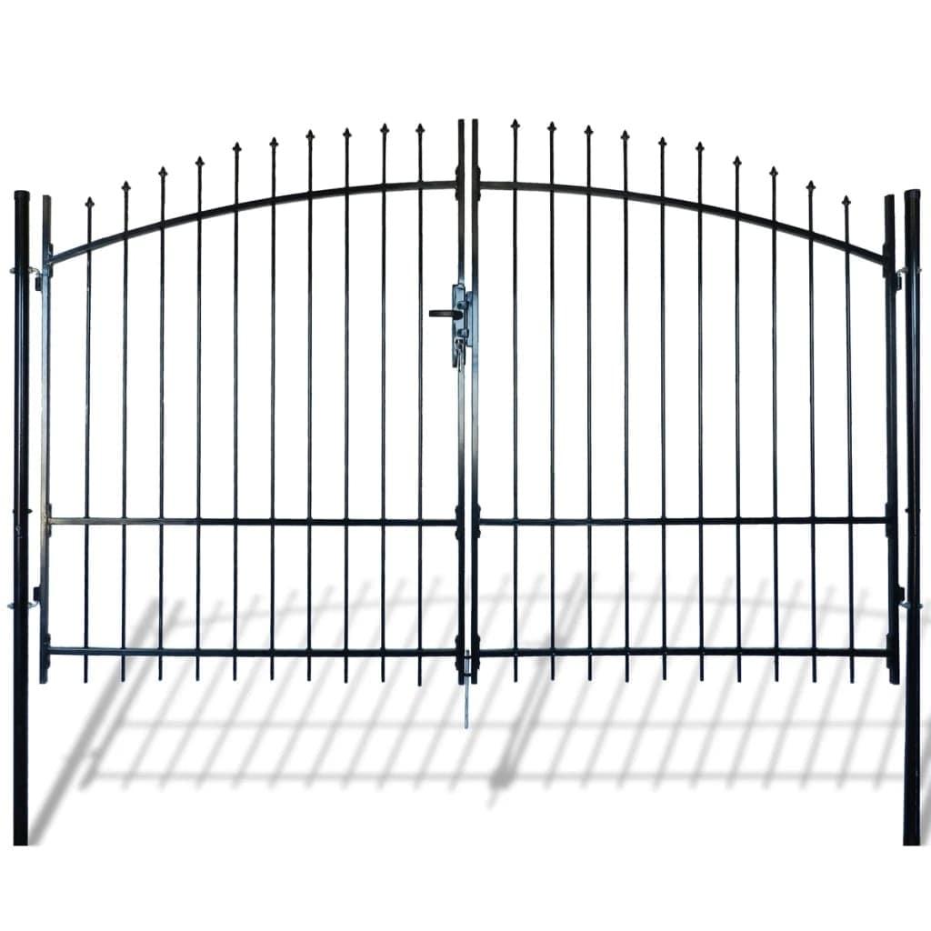 Double Door Fence Garden Fencing Gate with Spear Top 13/' x 5/' Yard Outdoor