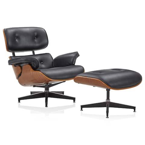 BELLEZE Kurt Leather Living Room Office Lounge Chair W/ Ottoman - standard