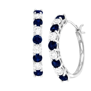 2 1/2 ct Created Blue & White Sapphire Hoop Earrings in 10K White Gold