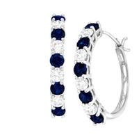2 1/2 ct Created Blue & White Sapphire Hoop Earrings in 10K White Gold