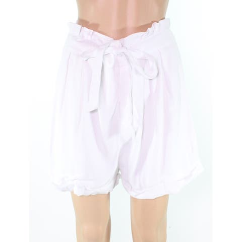 XOXO Women's White Size Large L Tie Waist Ruffle Cinched Dress Shorts