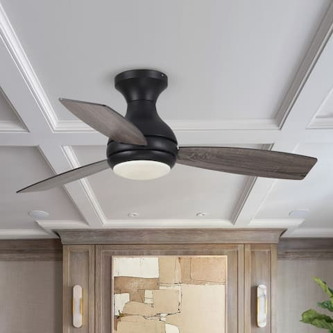 Industrial 48-inch Flush Mount LED Ceiling Fan with Remote