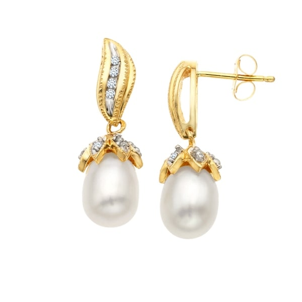 Freshwater Pearl and 1/10 ct Diamond Earrings in 14K Gold