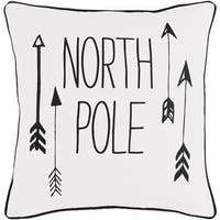 "18"" Jet Black and Polar White Decorative ""NORTH POLE"" Holiday Throw Pillow –Down Filler"