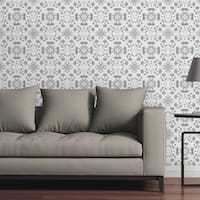 "Circle Art Group Removable Wallpaper Tile - Mosaic Chrysanthemums Black And White - Multi-color - 24"" x 48"""